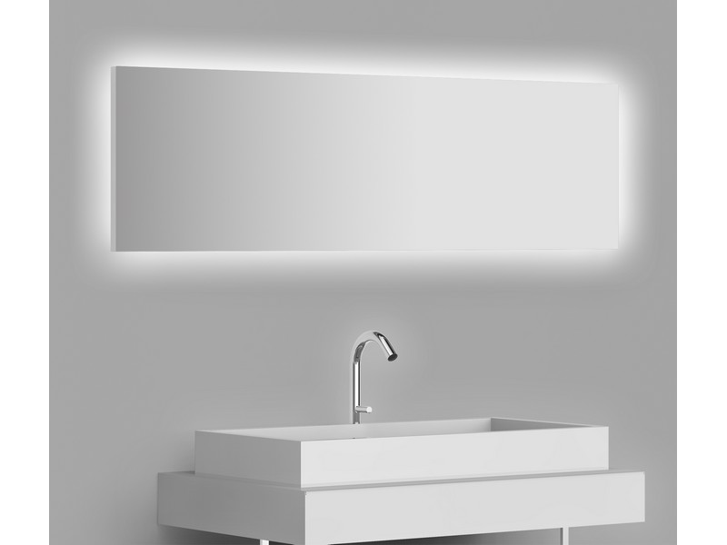 Miroir r tro clair horizontal flex led clairage invers for Miroir horizontal blanc