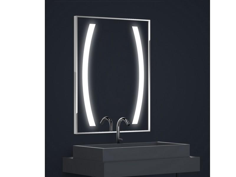 Miroir r tro clair tech 39 no led luna rectangle h90 x l70 - Miroir retro eclaire ...