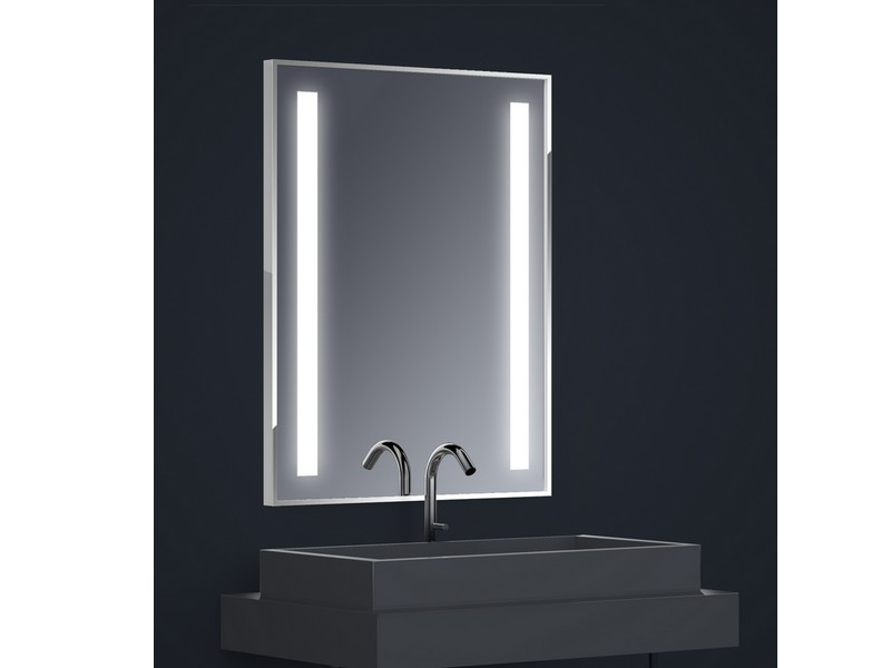 miroir r tro clair tech 39 no led dual l70 x h90 cm bandes d polies verticales en retrait chant. Black Bedroom Furniture Sets. Home Design Ideas