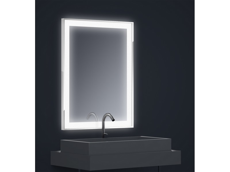 miroir r tro clair tech 39 no led quadra lateral l70 x h90 cm bande d polie rectangle en bordure. Black Bedroom Furniture Sets. Home Design Ideas